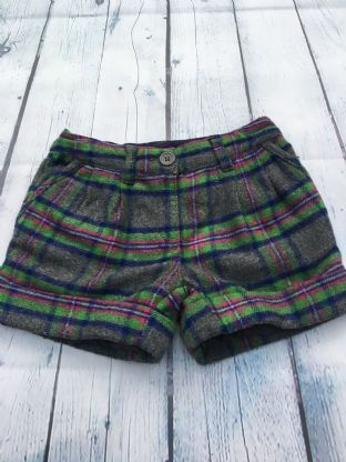 Mini Boden grey, purple, blue and green checked shorts age 5 (fits age 4-5)